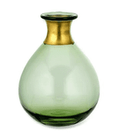 Large Green Vase with Metal Neck | Home Accessories